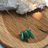 Green Aventurine Chip Bar Necklace